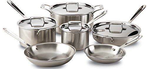 All-Clad Brushed D5 Stainless Cookware Set, Pots...