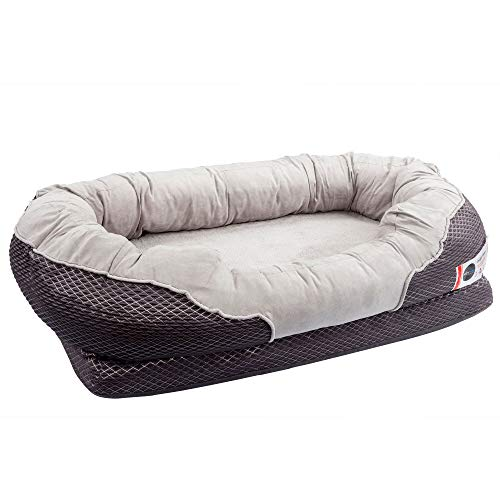 BarksBar Large Gray Orthopedic Dog Bed - 40 x 30 inches -...