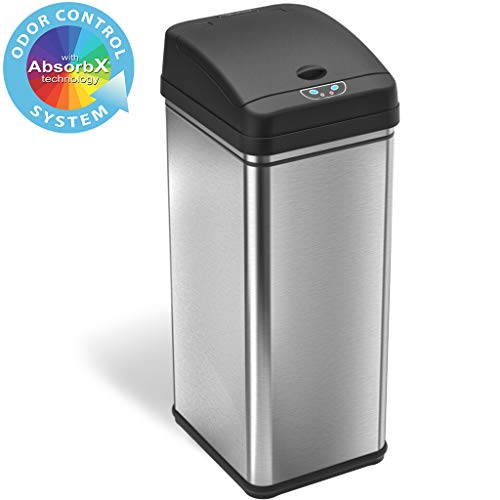 iTouchless 13 Gallon Stainless Steel Automatic Trash Can...