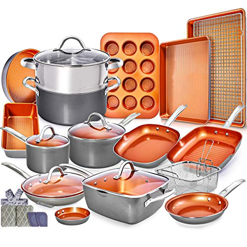 Home Hero Copper Pots and Pans Set -23pc Copper...