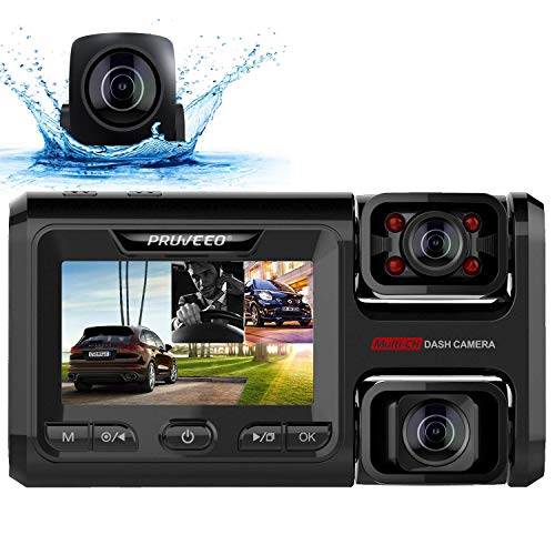 Pruveeo D40 Three and Dual Channel Dash Cam, Front...