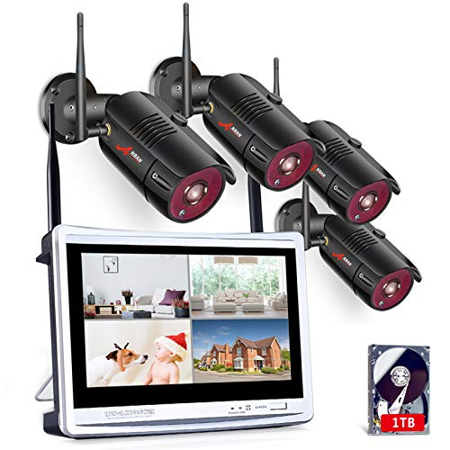 [All-in-One] 1080P Home Security Camera System...